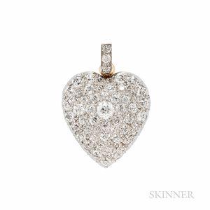Edwardian Diamond Heart Pendant