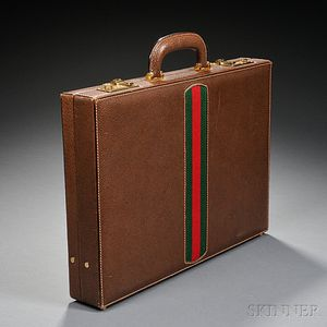 Gucci Stitched Leather and Canvas Briefcase