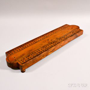 Large Fruitwood Inlaid Cribbage Board
