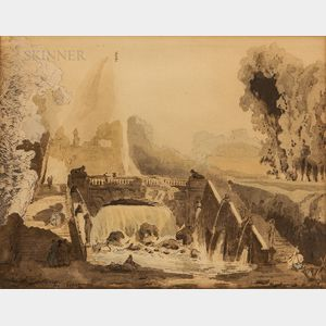 Attributed to Hubert Robert (French, 1733-1808)      Neoclassical Garden Landscape with Bridge, Stairways, and Cascade