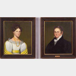 Zedekiah Belknap  (American, 1781-1858)    Lot of Two Portraits:  Mr. and Mrs. Jonathan Richardson.