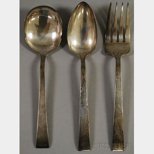 Three Kuyeda Silver Serving Pieces