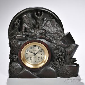 "Carved Walnut-cased ""Neptune Chelsea"" Ship's Bell Clock"