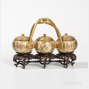 Satsuma Triple-bowl Condiment Set with Covers