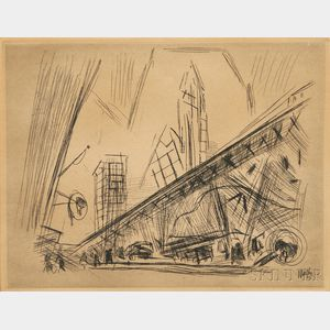 John Marin (American, 1870-1953)      Downtown, the El