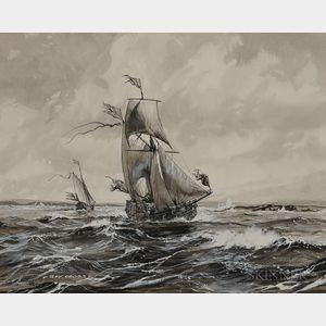 Roy Cross (British, b. 1924)    State Yachts, c. 1660