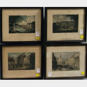 Four Small Hand-colored Framed Engravings of English and New England Views