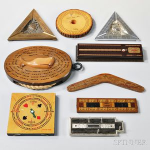Nine Novelty or Souvenir Cribbage Boards