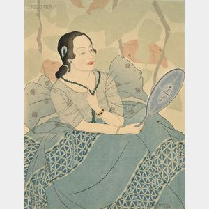 Paul Jacoulet (French, 1902-1960)      Two Images from the RAINBOW SERIES (SEVEN CHAMORRO   WOMEN OF GUAM): Green