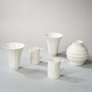 Five Wedgwood Keith Murray Design Moonstone Items