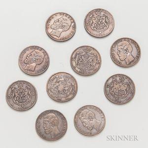 Ten Romanian 5 Lei Coins