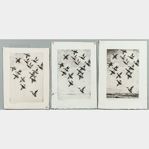 Frank Weston Benson (American, 1862-1951)      Three Different States of Black Ducks Towering