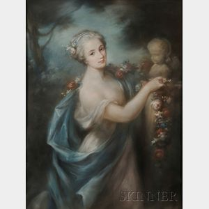 Attributed to Rosalba Carriera (Italian, 1675-1757)      A Woman Offering a Garland of Flowers to Eros