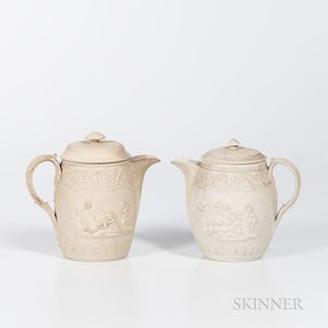 Two Turner White Stoneware Jugs and Covers