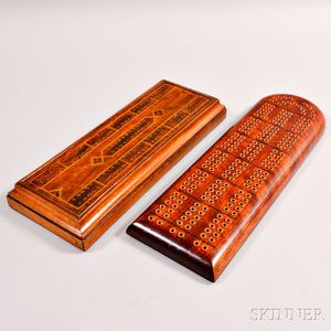 Two Wooden Cribbage Boards