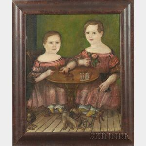 American School, 19th Century    Portrait of Two Children Playing at Table with their Pet Pugs.