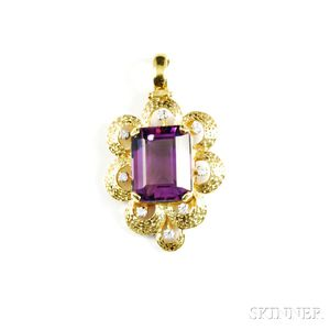 18kt Gold, Amethyst, and Diamond Pendant