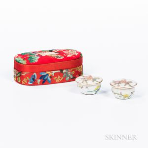 Pair of Ceramic Trinket Boxes in an Embroidered Silk Case