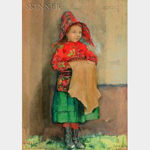Annie Barrows Shepley (American, fl. 1888-1907)    The Red Hat/Portrait of a Scandinavian Girl