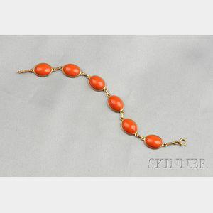 14kt Gold and Coral Bracelet