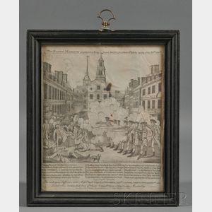 """Framed """"Fac-Simile"""" Engraving of Paul Revere's Boston Massacre"""
