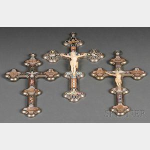 Three Italian Micromosaic Crosses
