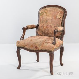 Louis XV-style Tapestry-upholstered Armchair