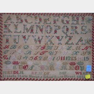 Framed 1852 Isabella Storie Meriots School Rose Street Needlework Sampler.