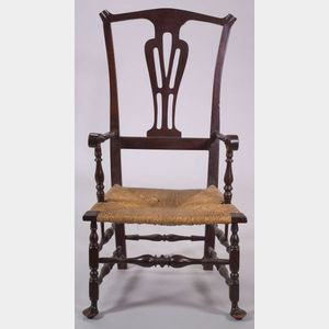 Brown Stained Maple Armchair
