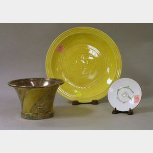 Christofle Metal Bowl, a V. Rolfe Enameled Dish, and a Coronation of King Edward VIII Yellow Glazed Ceramic Plate.