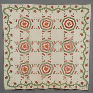 Pieced and Appliqued Cotton Sunburst Pattern Quilt