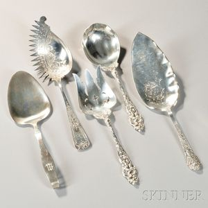Five American Silver Serving Pieces
