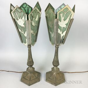 """Pair of Reverse-painted Glass """"Dove"""" Lamps"""