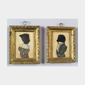 American School, 19th Century  Pair of Hollowcut Portrait Silhouettes.