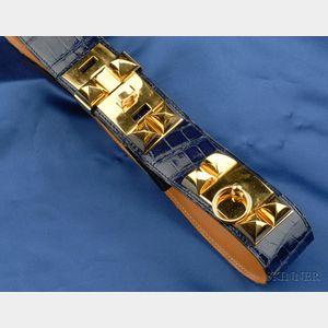 Royal Blue Alligator Belt, Hermes