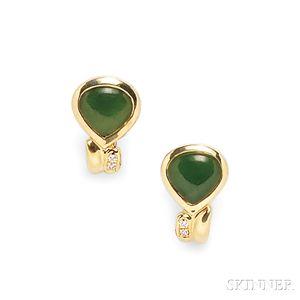 18kt Gold, Nephrite, and Diamond Earclips, Manfredi