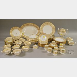 Eighty-piece Wedgwood Gold Florentine Pattern Porcelain Partial Dinner Service.