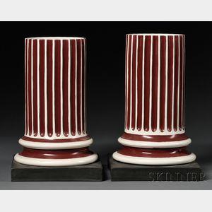 Pair of Wedgwood Pearlware Columnar Vases