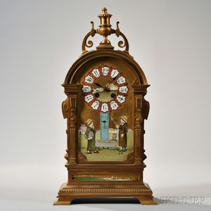 Tiffany & Co. Brass and Porcelain Mantel Clock
