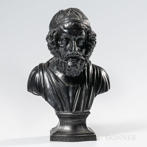 Wedgwood & Bentley Black Basalt Bust of Homer