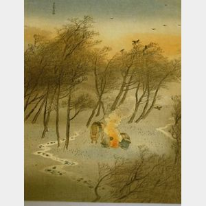 Japanese Woodblock Print, Travelers' Sunset Camp Fire