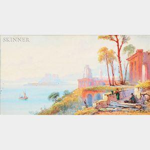 Thomas Charles Leeson Rowbotham (British, 1823-1875)    Italian Coastal View with Figures