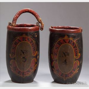 Pair of Polychrome Paint Decorated Leather Fire Buckets