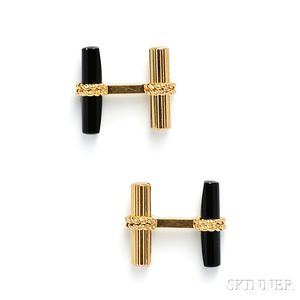 18kt Gold and Onyx Cuff Links, Van Cleef & Arpels
