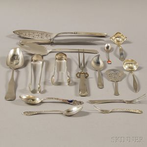 Sixteen Assorted Silver and Silver-handled Flatware Items