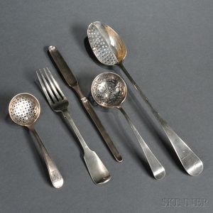 Twelve Pieces of George III and Victorian Sterling Silver Flatware