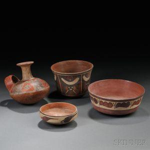 Four Pre-Columbian Polychrome Pottery Items
