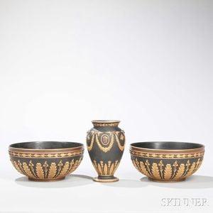 Three Wedgwood Gilded and Bronzed Black Basalt Items