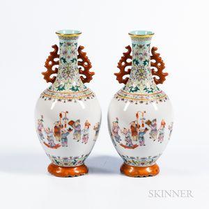 Pair of Famille Rose Enameled Bottle Vases