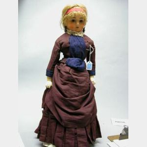 Wax over Papier Mache Shoulder Head Lady Doll
